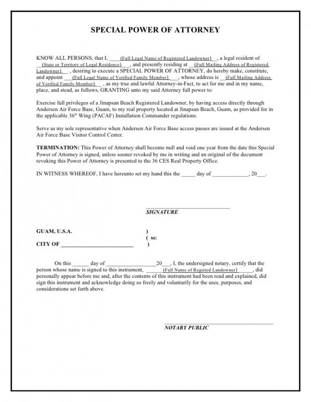 Power Of Attorney Sample  Template Business