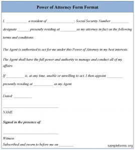 power of attorney sample powerofattorneyformtemplate
