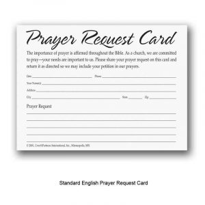 prayer card template church prayer request cards