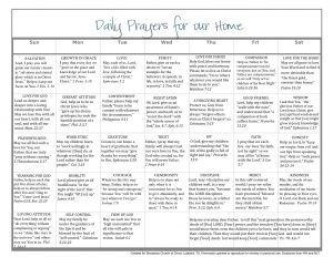 prayer cards template daily prayer calendar for children