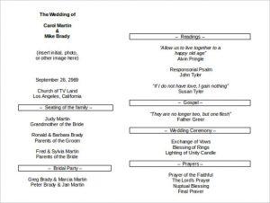 prayer lists template sample wedding program itinerary template