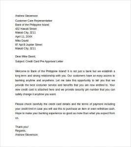 pre approval letter sample credit card pre approval letter