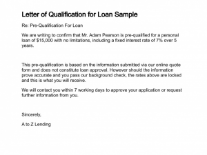 pre approval letter sample letter of qualification for loan sample