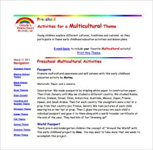 pre k lesson plan template preschool multicultural lesson plan free pdf download