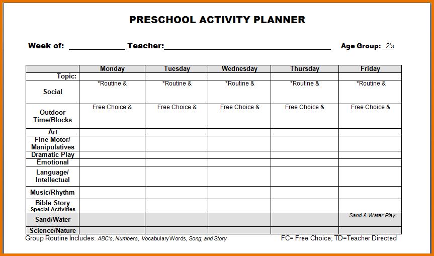 pre k lesson plan templates