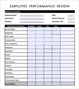 preformance review forms employee performance review