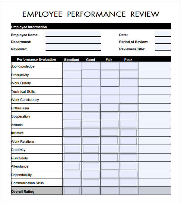 preformance review forms