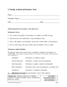 preformance review forms nursing assistant performance appraisal