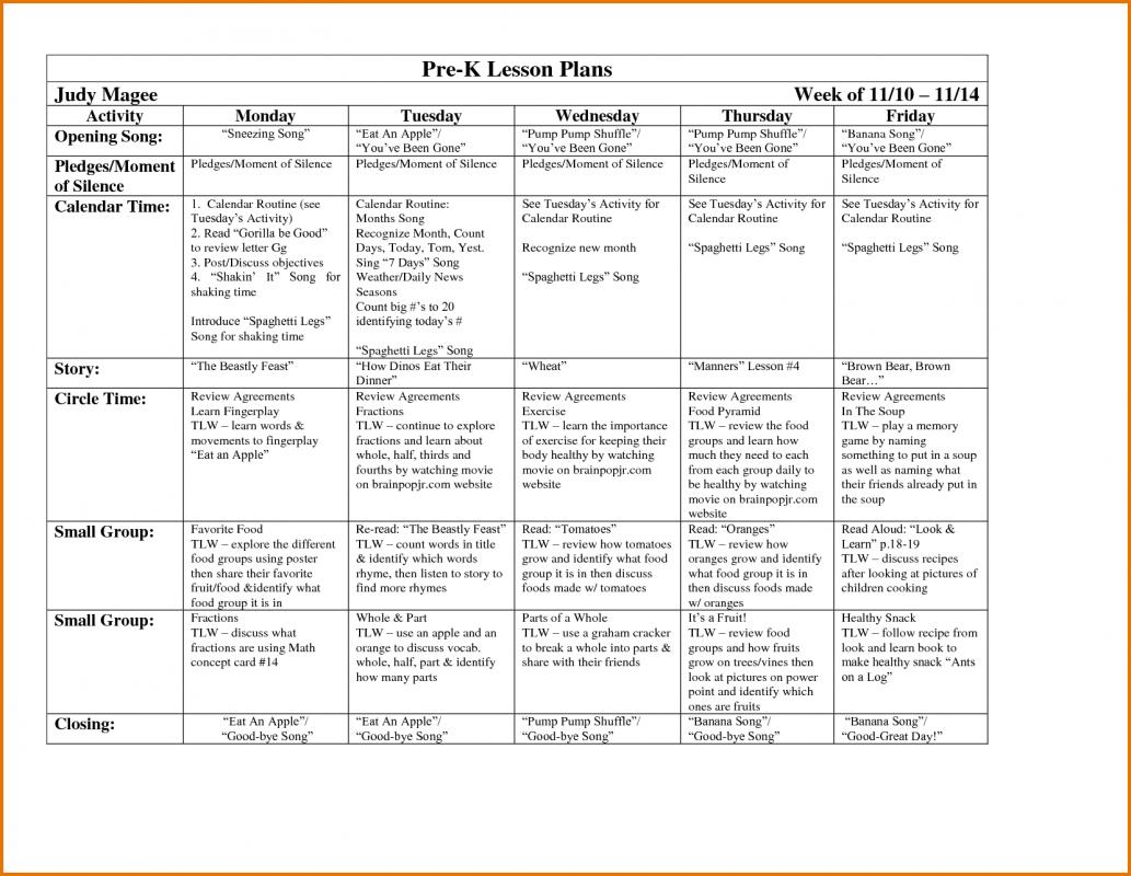 Prek Lesson Plan Template Template Business - Pre k weekly lesson plan template