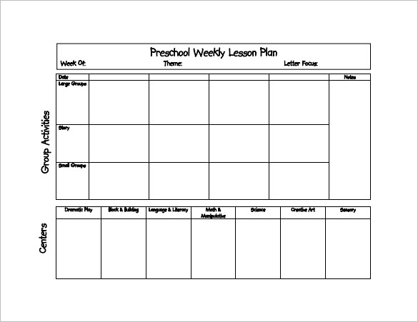 Prek Lesson Plan Templates Template Business - Lesson plan templates free