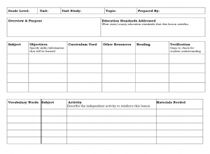 prek lesson plan templates unit study template