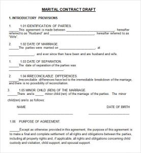 prenup agreements template marriage contract draft
