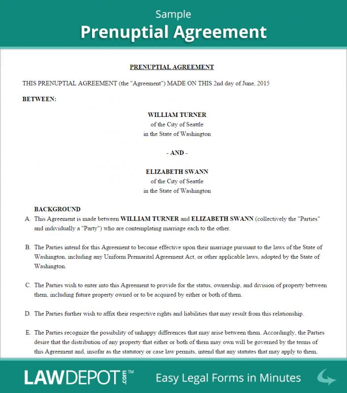 Prenuptial Agreement Sample  Template Business