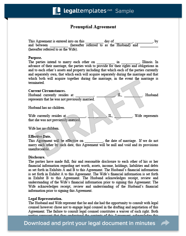 prenuptial agreement sample