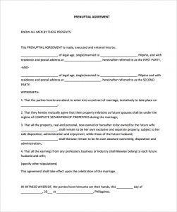 prenuptial agreement templates prenuptial agreement free pdf