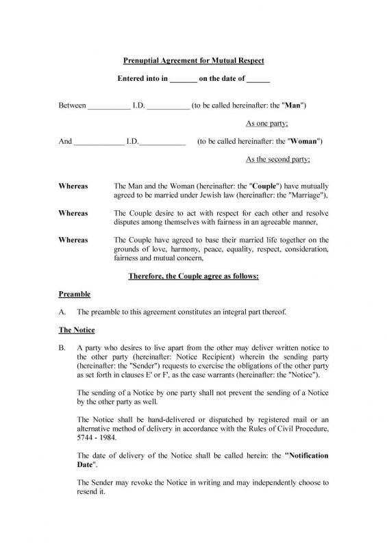 prenuptial agreement templates