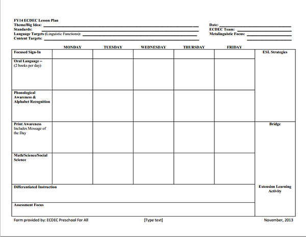 Preschool Lesson Plan Template  Template Business