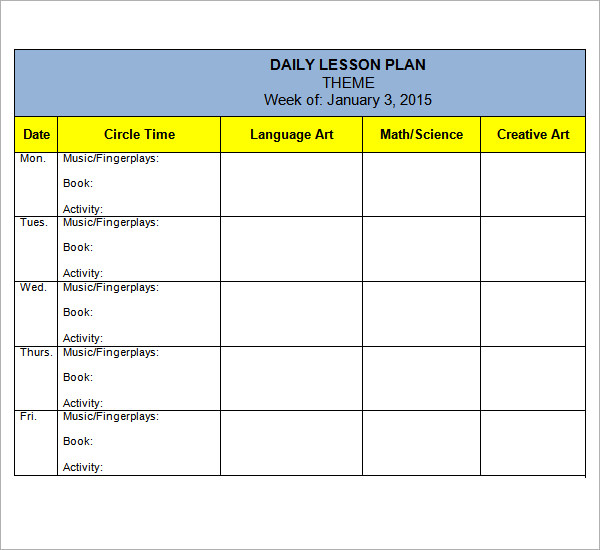 Preschool lesson plan template template business for Toddler lesson plan templates blank