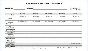 preschool lesson plan template preschool lesson plan