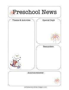 preschool newsletter template julynewsletter