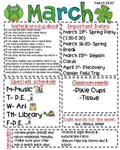 preschool newsletter templates march