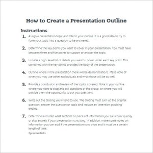 presentation outline template how to create a presentation outline template