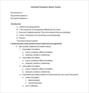 presentation outline template individual persuasive speech outline template in word format