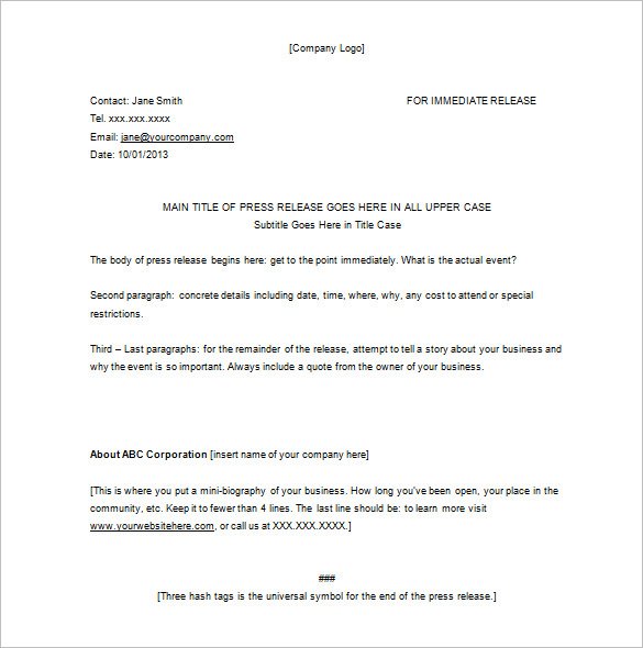 press release format template
