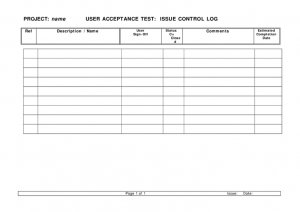 price sheet template acceptance test issue control log
