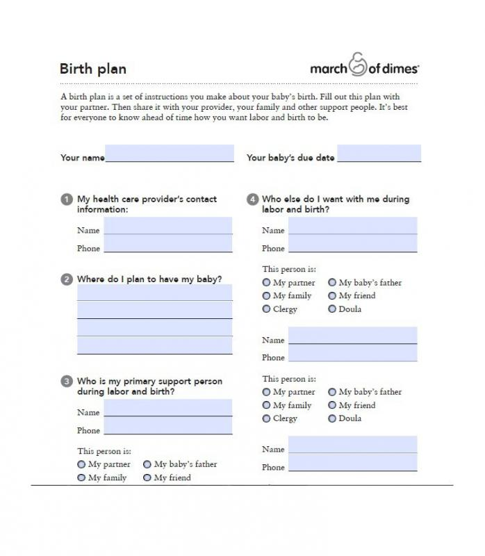 printable birth plan