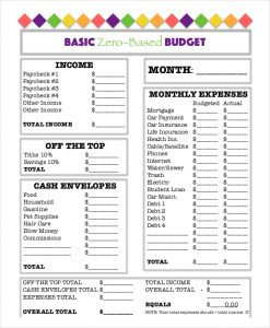 printable budget worksheet pdf basic zero based budget worksheet template download
