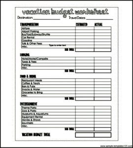 printable budget worksheet pdf free vacation budget worksheet printable pdf