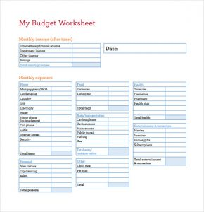 printable budget worksheet pdf my budget worksheet pdf template free download
