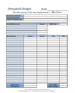 printable budget worksheet pdf simple blue household budget