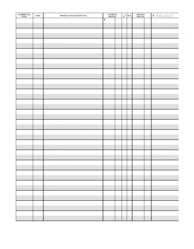 Printable Check Register Template Business