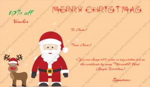 printable christmas gift certificates santa and randeer gift certificate template word