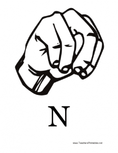 printable college ruled paper sign language with n
