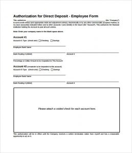 printable direct deposit form authorization for direct deposit