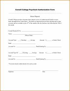 printable direct deposit form sample direct deposit authorization form