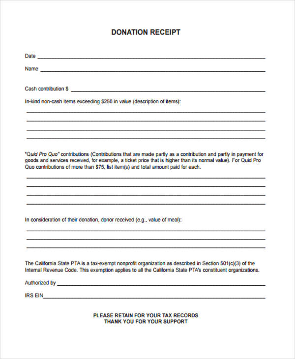 printable donation form template