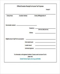 printable donation form template sample official donation receipt