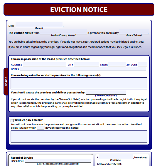 Printable Eviction Notice  Printable Eviction Notice