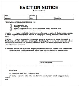 printable eviction notice notice to vacate templates image
