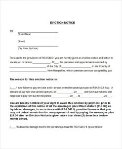 printable eviction notice printable eviction notice to tenant