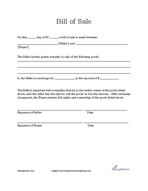 printable general bill of sale