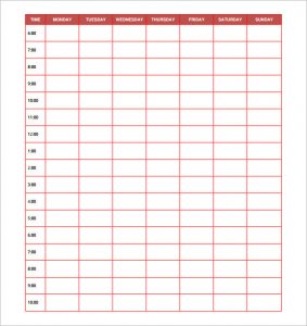 printable hourly schedule daily employee schedule template free download