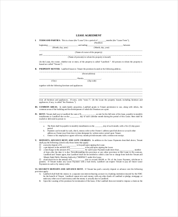 Printable Lease Agreement  Blank Lease Agreement Free