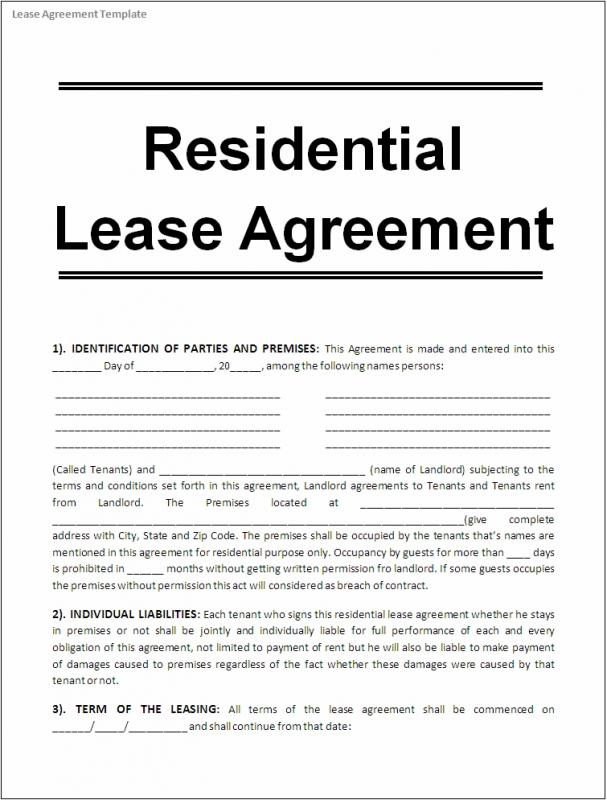Printable lease agreement template business for Rent to buy contract template