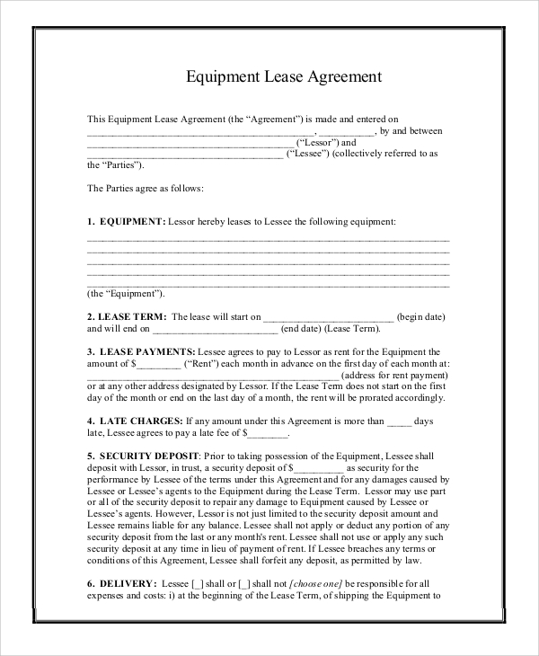 printable lease agreement template business