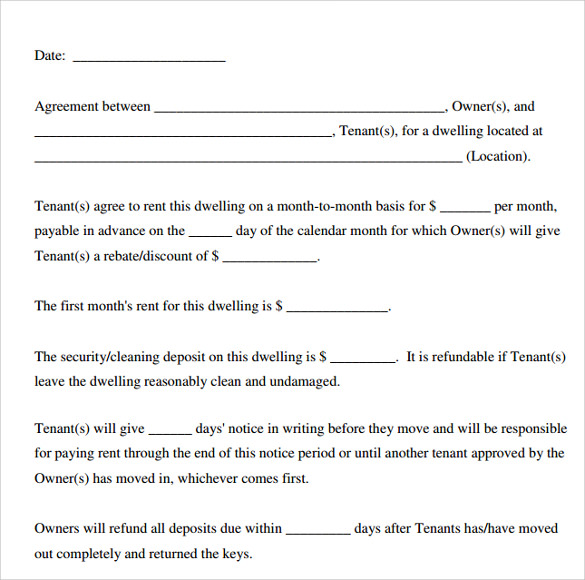 Printable Lease Agreement  Apartment Lease Agreement Free Printable